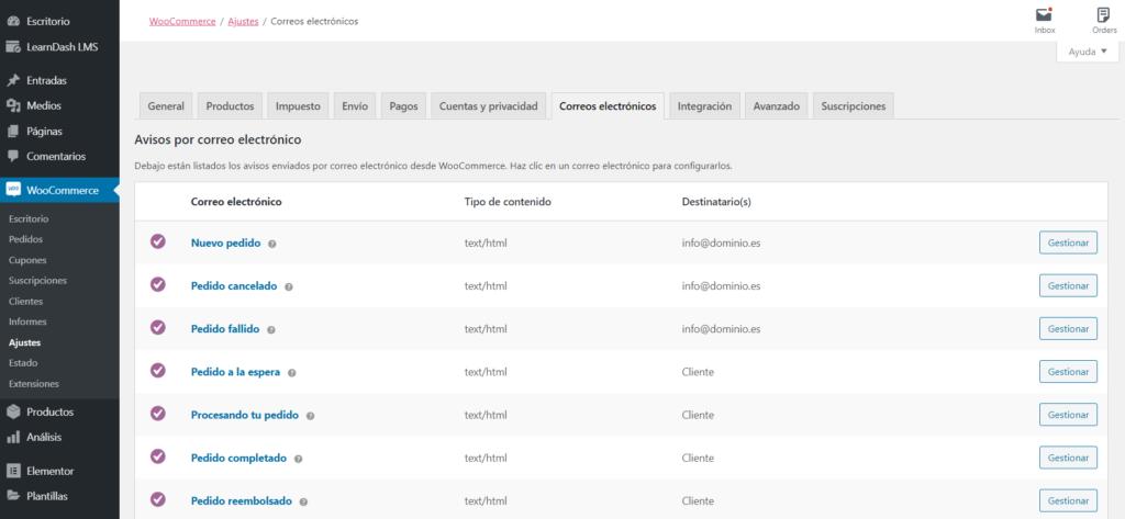 Configurar los correos electrónicos en WooCommerce