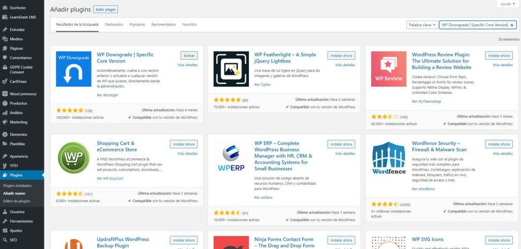 Plugin para volver a una versión anterior de WordPress