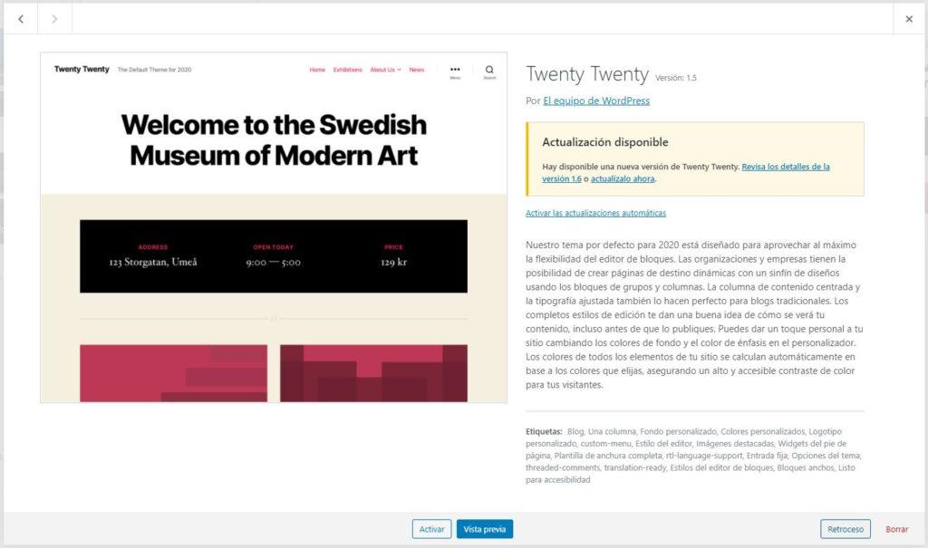 Wordpress retroceder versión de un tema