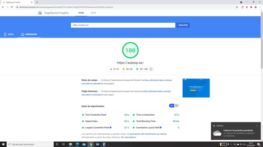 Prueba de velocidad escritorio Astra Google PageSpeed