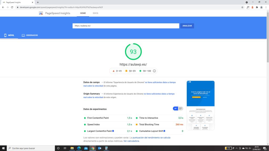 Prueba de velocidad móvil Astra Google PageSpeed